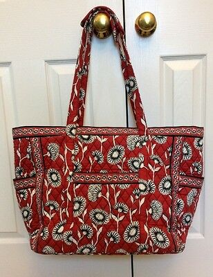 Vera Bradley Get Carried Away Deco Daisy Large Tote Bag Red Black White Flowers