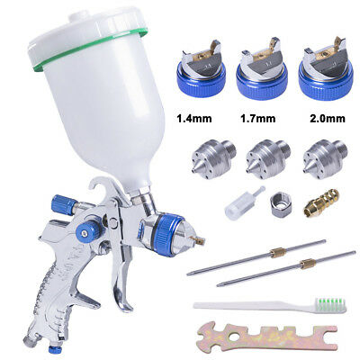 HVLP Spray Gun Kit Gravity Feed 600CC 1.4MM 1.7MM 2.0MM Nozzle Vehicle Painting