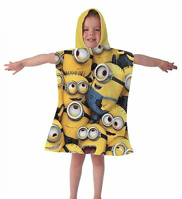 Kids Children Cartoon Characters Minions Printed Hooded Poncho Girls Boys Poncho