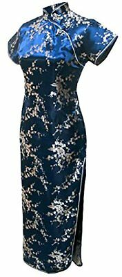 7Fairy Women's Vtg Navy Blue Floral Long Chinese Prom Dress Cheongsam Size 8 US