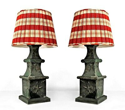 Pair of American Victorian Green Tole Outdoor Table Lamps