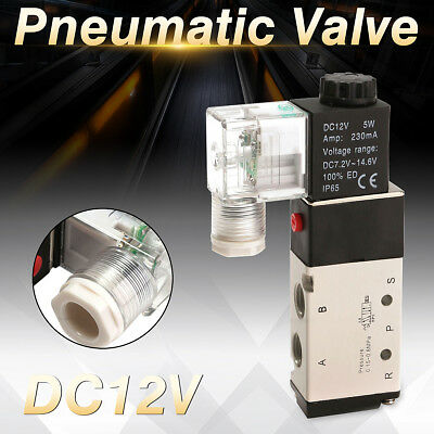 DC 12V 5 Way 2 Position Pneumatic Control Aluminum Electric Solenoid Air Valve