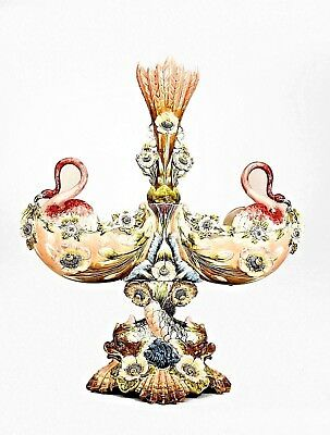 French Victorian Pink Majolica Centerpiece