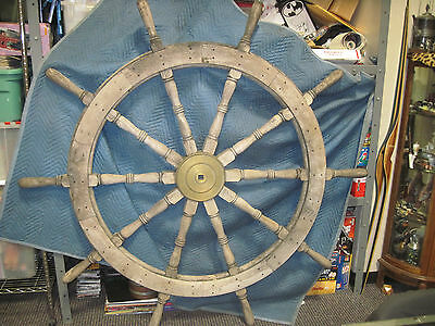 "68"" LARGE Authentic 10 Spoke Antique Teak Wood and Brass Nautical Ship Wheel"