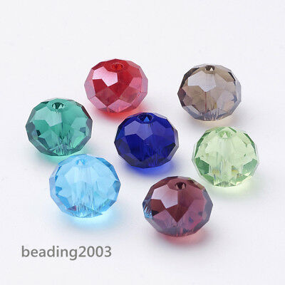 144pcs Crystal Faceted Rondelle Glass Beads Jewellery Making Mixed Color 10mm
