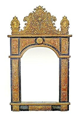 French (19th Cent.) Brass Embossed Repose Mirror