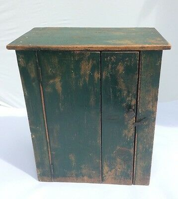 Antique Vintage Pine bedside side table wall cupboard bookcase cabinet green