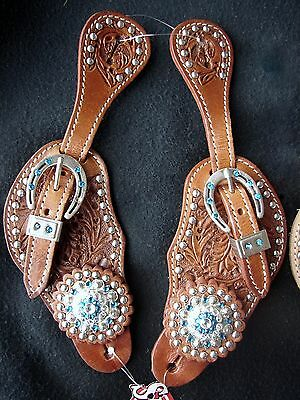 Showman Ladies Leather Spur Straps Acorn Tooled with Blue Crystal Rhinestones