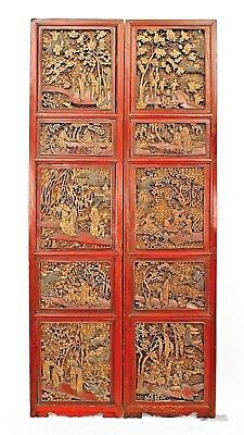 Pair of Asian Chinese Style Red Lacquered Carved Filigree Door Panels