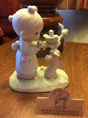 1983 Precious Moments - His Eye Is On The Sparrow  - Tree symbol Girl with bird