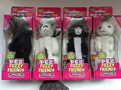 Pez Fuzzy Friends Cat Dog Series  Molly Rascal Snowball Boo 4 New Old Stock
