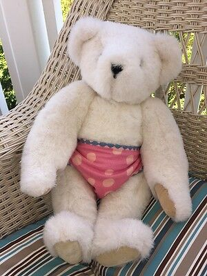 """Vermont Teddy Bear 1992 Polka Dot Diaper Jointed 16"""" Cream Colored Off White"""
