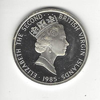 British Virgin Islands 20 Dollars, 1985, Proof, Scratched surfaced, Silver