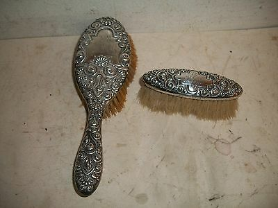 Antique Frank M. Whiting Sterling Silver ornate Repousse 2 hair Brushes 1898