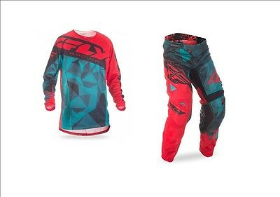 New Fly Racing Kids Youth Kinetic Mesh Crux Teal Red Black Jersey + Pants Combo
