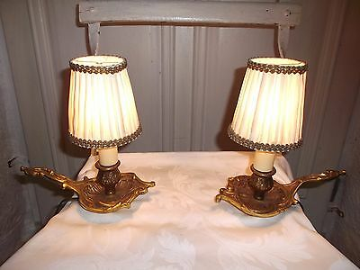 French antique a pair of bedside lamps patina bronze  fabric shades