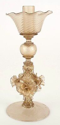 Italian 1940s Murano Gold Dusted Blown Glass Candlestick