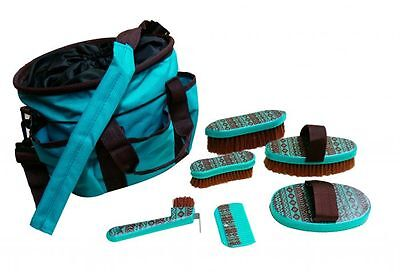 Showman 6 Piece Navajo Pattern Grooming Kit with Carrier