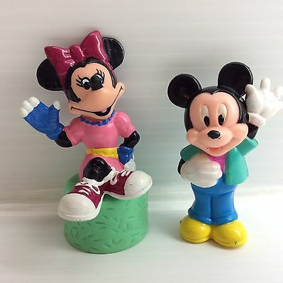 Vintage Mickey and Minnie Mouse - Walt Disney World PVC Toy Figure Lot of 2