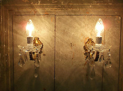 French a pair of  gorgeous vintage bronze crystals glass nicely detailed