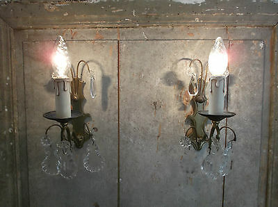 French a pair of pretty antique  wall light bronze brass crystals droplets