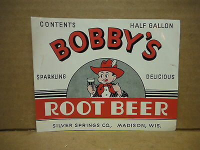 Bobby's Sparkling Delicious Root Beer 1/2 Gallon Soda Label-Madison,wisconsin