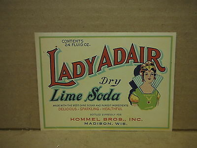 Lady Adair Dry Lime 24 Oz. Soda Label-Madison,wisconsin