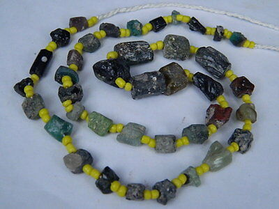 "Ancient Roman Glass Fragments Beads Strand C.200 Bc  """"k793"""""