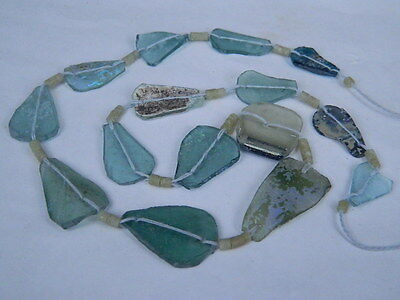 "Ancient Roman Glass Fragments Beads Strand C.200 Bc  """"k734"""""