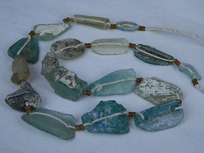 "Ancient Roman Glass Fragments Beads Strand C.200 Bc """"k735"""""
