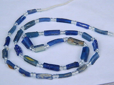 "Ancient Roman Glass Fragments Beads Strand C.200 Bc """"k732"""""