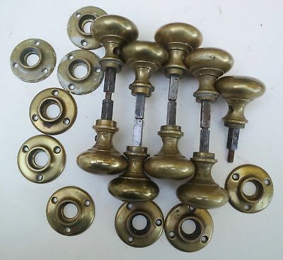 9 Vintage Heavy Brass Doorknobs & Back Plates from 1928 Emery Roth NYC Apartment