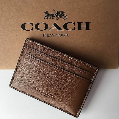 Coach Money Clip Card Case Mens Leather Dark Saddle F75459 NEW