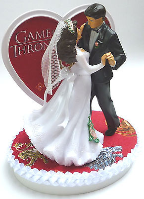 Wedding Cake Topper Game of Thrones Themed Dancing Couple Pretty Heart w/ Garter