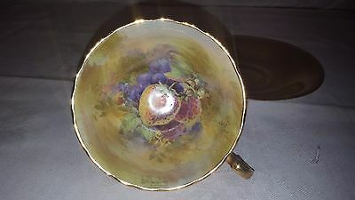 Royal Winton Grimwades Gold Teacup Hand Painted Fruit Artist Signed