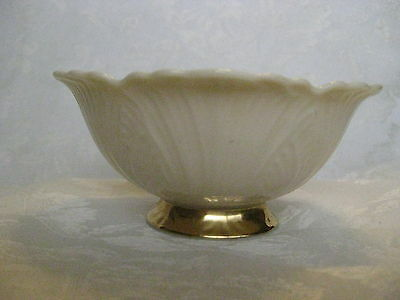 "LENOX Ivory and Gold Leaf Pattern Design Footed Scalloped Bowl USA 3 1/8""W x 2""H"