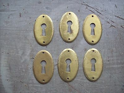 6 Matching Brass Antique reproduction Keyhole covers Escutcheons