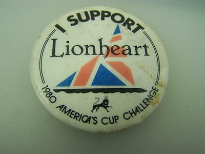 "1980 America's Cup Challenge ""I support Lionheart"" pin back badge 44mm diam.2060"