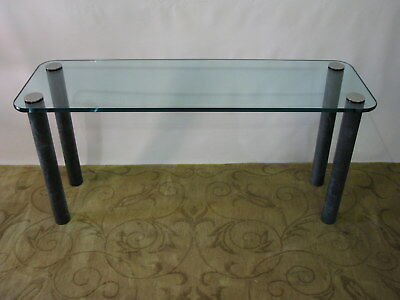 PACE Console / Sofa Table by Leon Rosen; Marbilized Legs & Heavy Glass Top; Rare