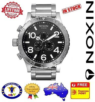 Nixon 51-30 Chrono Silver Black Mens Watch A083-000 A083000 Stainless Steel