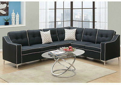MODERN SECTIONAL SOFA L Shaped Couch Tufted Back Black Fabric White Border  NEW