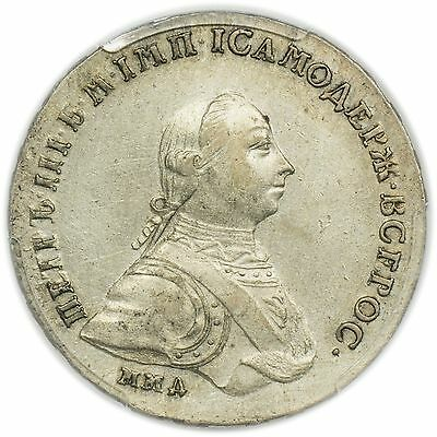 Russia D-1682 1762 Peter III Rouble PCGS AU Detail Cleaned, Rare Coin [3125.63]