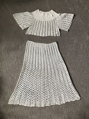 Vintage 60's Hand Crochet Crop Top and Skirt Set