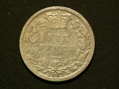 Great Britain 1883, 6 Six Pence, Queen Victoria, Silver Coin #G5735