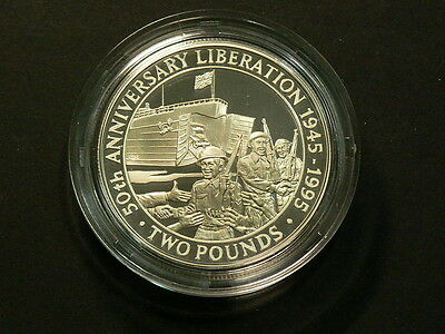 1945 1995 Guernsey  50th Ann Liberation 2 Pounds Proof Silver Crown #G6498