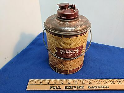 Vintage Playmate Cooler Picnic Jug - Metal - Glass Jug