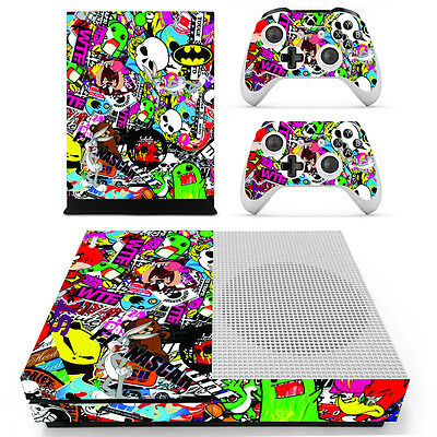 Stickerbomb Sticker Skin Kit Cover for Microsoft XBOX ONE S Console 2 Remotes AU