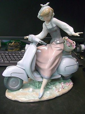 Lladro Figurine Country Girl with Motorcycle #5143 Girl Riding on Scooter Vespa