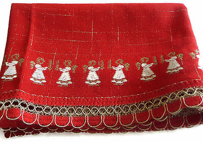 Vintage Red Christmas Embroidered Angels Table Runner Germany Tolentex Dolan