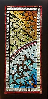 Aesthetic Antique American Floral Stained and Jeweled Window